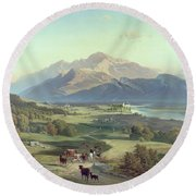 Drover On Horseback With His Cattle In A Mountainous Landscape With Schloss Anif Salzburg And Beyond Round Beach Towel