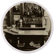 Drugstore Soda Fountain - New Orleans Round Beach Towel