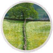 Dry Stone Wall And Lone Tree Round Beach Towel