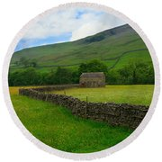 Dry Stone Walls And Stone Barn Round Beach Towel