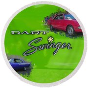 Dual Swingers Abstract Round Beach Towel