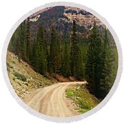 Dubois Mountain Road Round Beach Towel