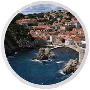Dubrovnik By The Sea Round Beach Towel