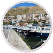 Dubrovnik Cityscape And Harbor Round Beach Towel
