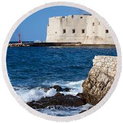 Dubrovnik Fortification And Bay Round Beach Towel