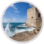 Dubrovnik Fortification And Pier Round Beach Towel