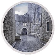Dubrovnik In The Rain - Old City Round Beach Towel