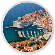 Dubrovnik Old City Aerial View Round Beach Towel