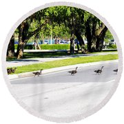Duck Crossing Round Beach Towel