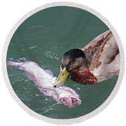 Duck Fishing Round Beach Towel