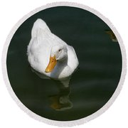 Duck Out - Stop Peking On Me Round Beach Towel