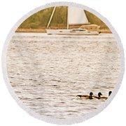 Duck Sailing Round Beach Towel