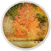 Ducks In An Autumn Pond Round Beach Towel