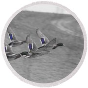 Ducks In Flight V1 Round Beach Towel