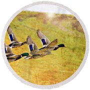 Ducks In Flight V4 Round Beach Towel