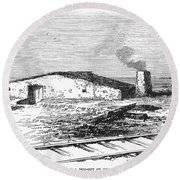 Dugout Home, 1871 Round Beach Towel