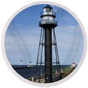 Duluth Lighthouses 1 Round Beach Towel