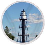 Duluth Mn Bridge Lighthouse Round Beach Towel