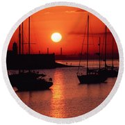Dun Laoghaire Harbour, Co Dublin Round Beach Towel
