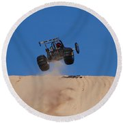 Dune Buggy Jump Round Beach Towel
