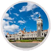 Dunedin Railway Station During A Sunny Day  Round Beach Towel