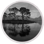 Dusk At Loch Maree Round Beach Towel