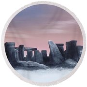 Dusk On The Winter Solstice At Stonehenge 1877 Round Beach Towel