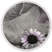 Dusky Megaboots Round Beach Towel by Joan Carroll