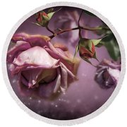 Dusky Pink Roses Round Beach Towel