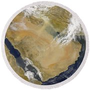 Dust And Smoke Over Iraq And The Middle Round Beach Towel