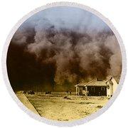 Dust Storm, 1930s Round Beach Towel