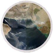 Dust Storms Across Iran, Afghanistan Round Beach Towel
