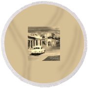 Dusty Old Town Round Beach Towel