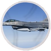 Dutch F-16am During A Combat Air Patrol Round Beach Towel