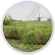 Dutch Landscape With Windmills And Cows Round Beach Towel