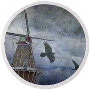 Dutch Windmill With Ravens Round Beach Towel