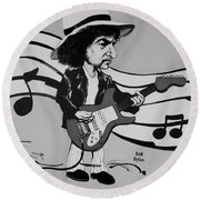 Dylan In Black And White Round Beach Towel