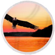 Eagle At Break Of Dawn Round Beach Towel