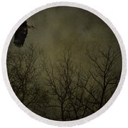 Eagle In The Mist  Round Beach Towel