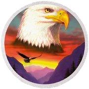 Eagle Round Beach Towel by MGL Studio - Chris Hiett