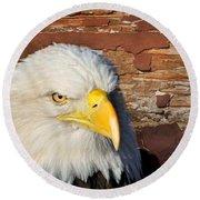 Eagle On Brick Round Beach Towel