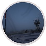 Ealy Morning Frost Round Beach Towel