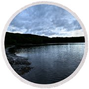 Early Am Shoreline Round Beach Towel