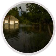 Early Morning Clam Lake Channel Round Beach Towel