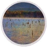 Early Morning Color Of Lake Wilhelmina-arkansas Round Beach Towel