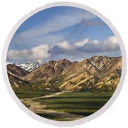 Early Morning Denali Round Beach Towel