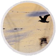 Early Morning Flight Round Beach Towel