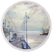 Early Morning In Lake Shore Round Beach Towel