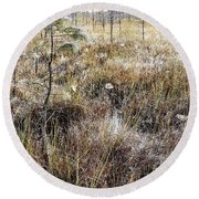 Early Morning Landscape Round Beach Towel