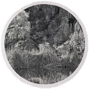 Early Morning Light Black And White Round Beach Towel